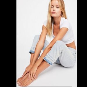 NWOT Free People Cropped Slim Straight Jeans